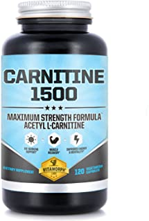 Acetyl L-Carnitine 1500mg Per Serving | Highest Potency Acetyl L-Carnitine HCl Supplement for Mentality, Energy, Fat Metabolization & Weight Loss | 120 Vegetarian Capsules