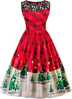 Women`s Christmas Dress Retro Vintage 1950s Christmas Holiday Party Dresses Cocktail A-Line Swing Dress