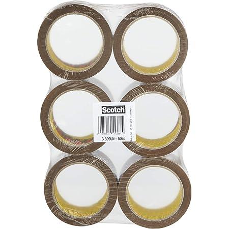 Scotch Rouleaux de Ruban adhésif sans solvant Acrylique 50 mm x 66 m Havane - LOT DE 6