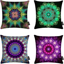 Ussuperstar Set of 4 Mandala Throw Pillow Covers Boho Colorful Leaves Tree Life Cushion Cover Throw Decarative Pillow Case 18 X 18 inch Sofa Bedroom Dorm.(Boho 06)