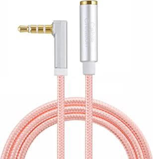 Audio Extension Cable,CableCreation 6 FT 3.5mm 1/8'' TRRS Male to Female Stereo Cable Compatib with Phones, Headphones, Speakers, Tablets, PCs,Right Angle 4-Pole (Microphone Compatible), Rose Gold
