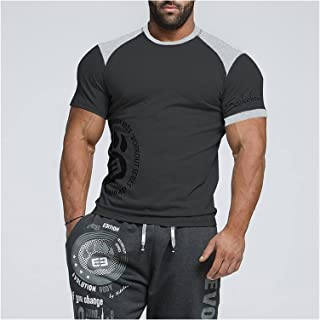 Men's sexy vest بالإضافة إلى حجم تي شيرت الطباعة جولة الرقبة أزياء قصيرة الأكمام التدريب الجري الرياضية الترفيه تي شيرت Me...