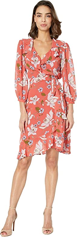 3/4 Sleeve Printed Chiffon Wrap Dress