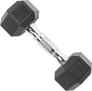 CAP Barbell Hex Rubber Dumbbell with Metal Handles, Heavy Dumbbells Choose Weight (5lb, 8lb, 10lb, 12lb, 15lb, 20 Lb, 25l...