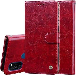 EnjoyCase Pu Leather Case for Samsung Galaxy M21,Retro Elegant Business Style Noble Flip Wallet Leather Case Shockproof Pr...