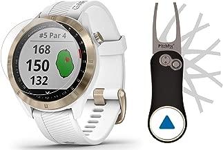 Garmin Approach S40 (White/Gold) Golf GPS Smartwatch Bundle   Includes Garmin/PlayBetter Pitchfix Divot Tool & HD Screen Protectors   Stylish, Color Touchscreen, 41,000+ Courses   010-02140-02
