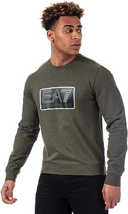 EA7 Navy Blue Crew Neck Logo Sweatshirt With Camo Trim 6ZPM84 PJ07Z