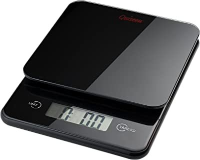 Quiseen Compact Digital Kitchen Food Scale - 11lbs/5kg Capacity (Black)