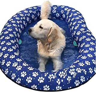 Ginkago Inflatable Pool Float for Adult Dogs and Puppies, Large Contemporary Modern Blue Pet Dog Swimming Pool Float Ride on Bathing