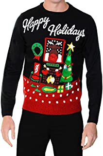 80eee0957096d adultes Pull Noël pour HOMMES FEMMES HAPPY HOLIDAYS Pull avec Lumières