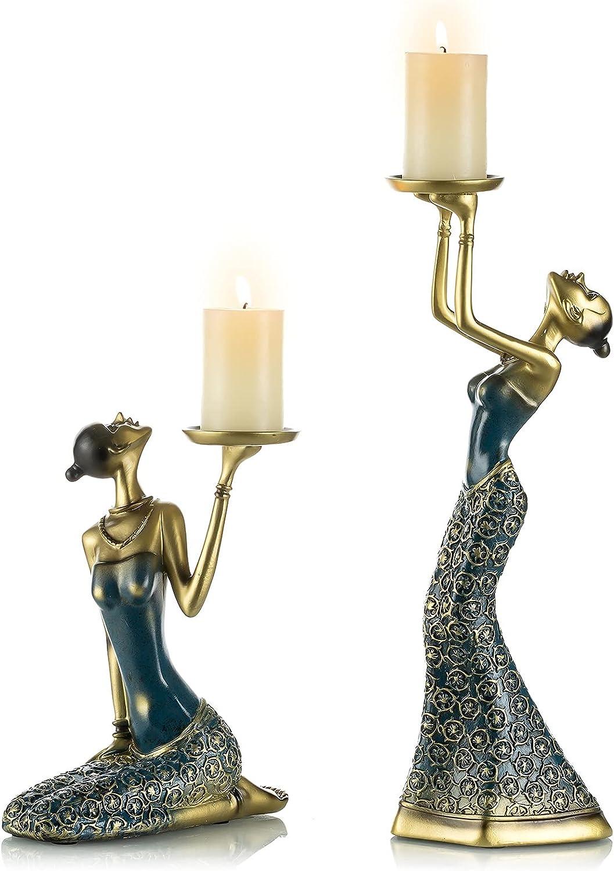 Vintage Candleholder Set Decorative Figurine - Elegant Statues Candlestick Holder Set of 2 for Housewarming Gift, Entryway Living Room End Table Shelf Center Piece Knick Knack Decor