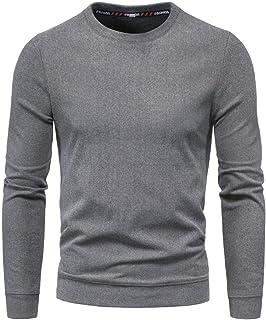Zimaes Men Crewneck Pullover Plus-size Long Sleeve Tshirt Shirt Top
