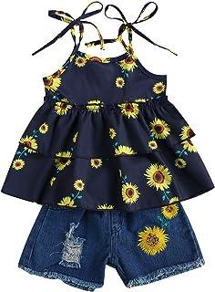 Kids Toddler Baby Girls Fashion 2PC Summer Outfit Set Sleeveless Sunflower Print Tops+Denim Shorts