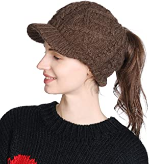 Winter Wool Newsboy Cap for Women Thick Knitted Billed Beanie Hat Snow Cold Weather Warm Visor Ladies Coffee