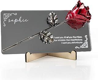 Rosa Eterna fatta di Ferro Battuto su specchio metacrilato con incisione personalizzata