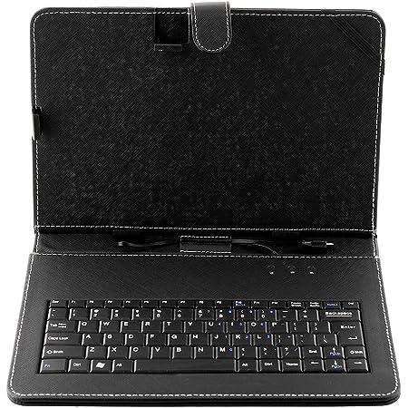 Beautyrain Funda de Cuero Negra de la PU y Teclado Micro USB para portátil de Tablet PC de 10.1 Pulgadas