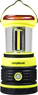 Life Gear 600 Lumen COB Camping Lantern with Red Safety Flasher, Black/Lime Green