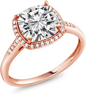 10K Rose Gold Solitaire w/Accent Stones Engagement Ring Forever One (GHI) Cushion 2.40ct (DEW) Created Moissanite by Charles & Colvard