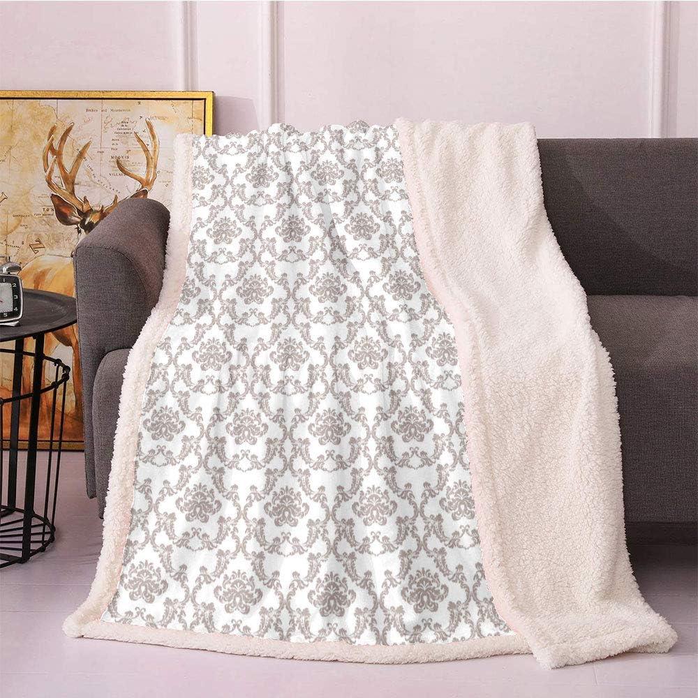Taupe Plush Blanket quality assurance French Style Damask Nostalgia Curvy 1 year warranty Pattern