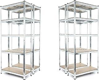 Estantería galvanizada resistente para garaje, 5 niveles, 1800 mm de alto x 900 mm de ancho x 400 mm de profundidad, 175 kg por estante.