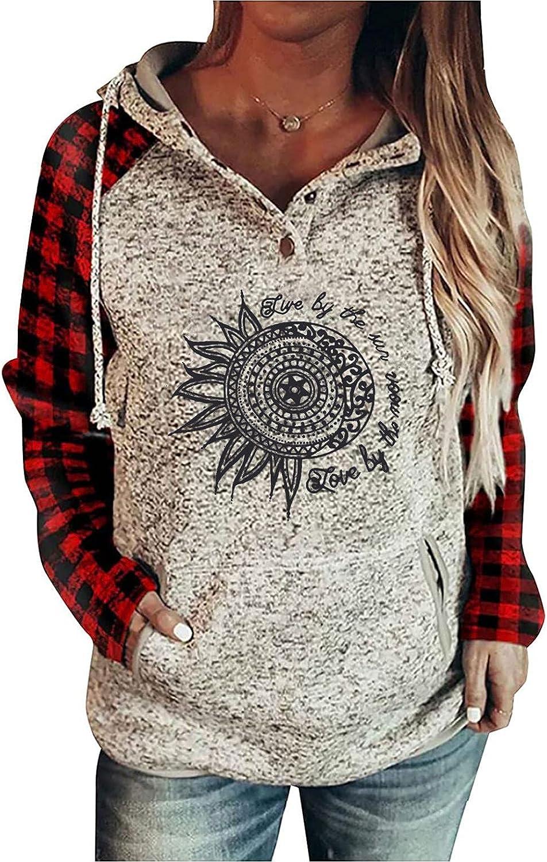 Qisemi Hooded Sweatshirt for Women Virginia Beach Mall Collar Sweater Button Winter Genuine