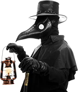 Aqkilo Plague Doctor Mask Black Leather Long Nose Bird Beak Masks Costume Props for Masquerade Halloween Party Carnival Cosplay