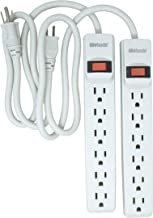 Woods 41346 Surge Protector with Overload Safety Feature, 6 Outlets and 2.5 ft Cord for 280J of Protection, White, 2 Pack