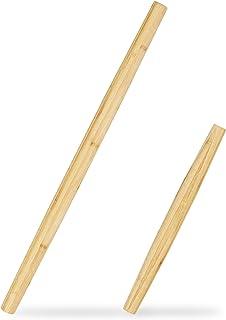 Relaxdays 10028813 Lot de 2 Rouleaux à pâte, Bambou, Accessoire de Cuisine, en 2 Tailles, en Forme de cône, 65 & 40 cm, Na...
