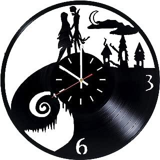 ナイトメアー・ビフォア・クリスマス ジャックとサリー 手作り ビニールレコードの壁時計 子供部屋または保育園の壁の装飾 子供、兄弟、子供のためのアイデアギフト アニメーション漫画 ユニークなデザインアート