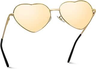 Women Metal Heart Frame Mirror Lens Cupid Heartshape Sunglasses