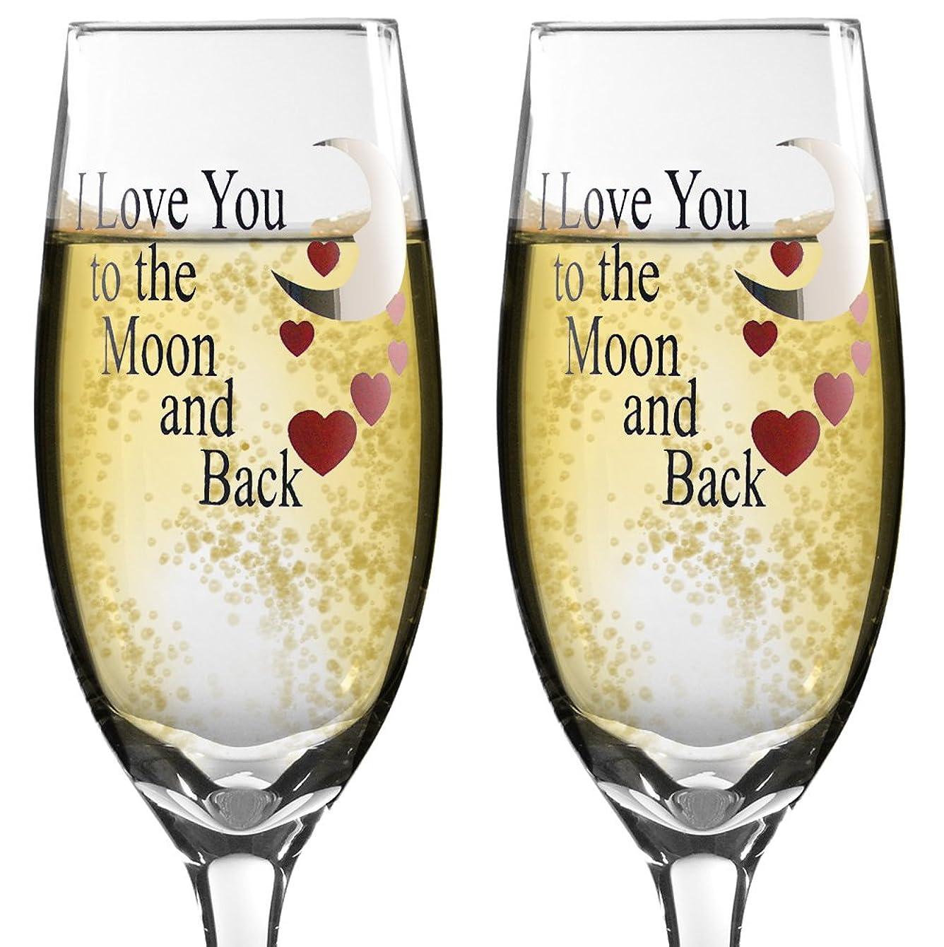 胴体インキュバスインキュバスGlass Champagne Glasses - I Love You to the Moon and Back Champagne Flutes - Set of 2 Champagne Glasses - Anniversary Gift - Wedding Glasses - I Love You Gift