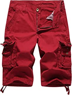 MHSLKER Summer Men's Cargo Shorts Loose Casual Multi-Pocket Classic Fit Short
