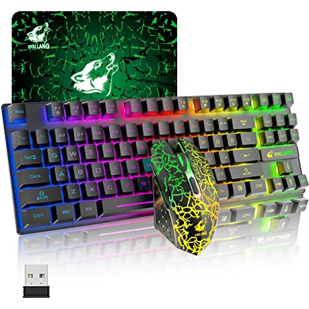 UrChoiceLtd T87ワイヤレスゲーミングキーボードマウスセット、リンボーLEDバックライト、英語配列,3800mAh大容量、無線、2400DPIマウス 2.4G 静音マウス 黒