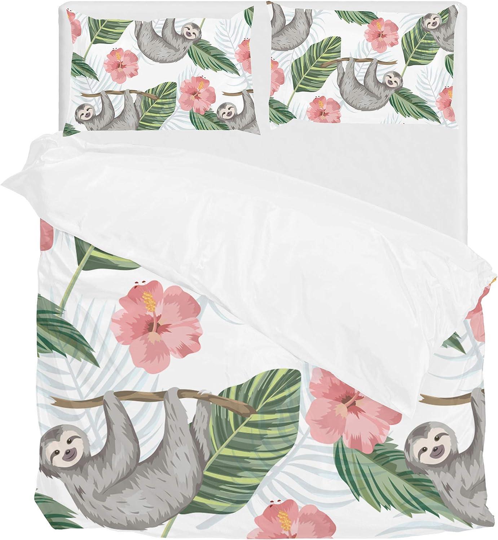 Lafle Parure de lit en Polyester avec Housse de Couette et taie d'oreiller Motif Fleurs Tropicales, Polyester, MultiCouleure, Double