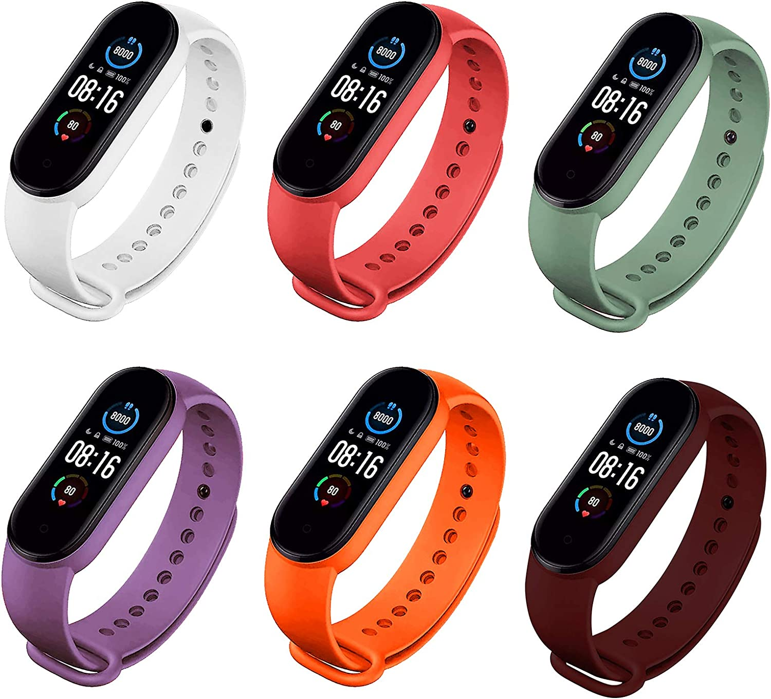 COLAPOO 6PCS Bands Compatible with Xiaomi Mi Band 5,Silicone Waterproof Strap for Mi 5 Smart Bracelet for Men Women (White/Red/Army Green/Purple/Orange/Wine Red)