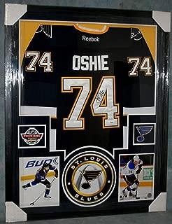T J Oshie Autographed Signed St Louis Blues Framed Jersey Autograph Psa/Dna