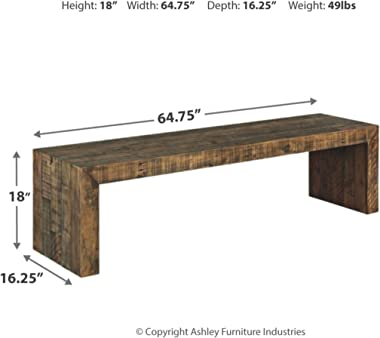 Signature Design by Ashley Sommerford Rustic Wood Dining Room Long Bench, Brown