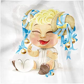 Ambesonne Zodiac Aries Decorative Satin Napkins Set of 4, Happy Smiling Baby with Bells Tied up to His Horns Birth and Future Theme, Square Printed Fabric Party & Dinner Napkin, 12