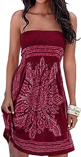 Women's Summer Dress Strapless Floral Print Bohemian Casual Beach Dress Cover Ups for Swimwear Women