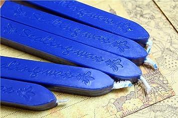 SPHTOEO 5PCS Manuscript Sealing Seal Wax Sticks Wicks for Postage Letter Blue