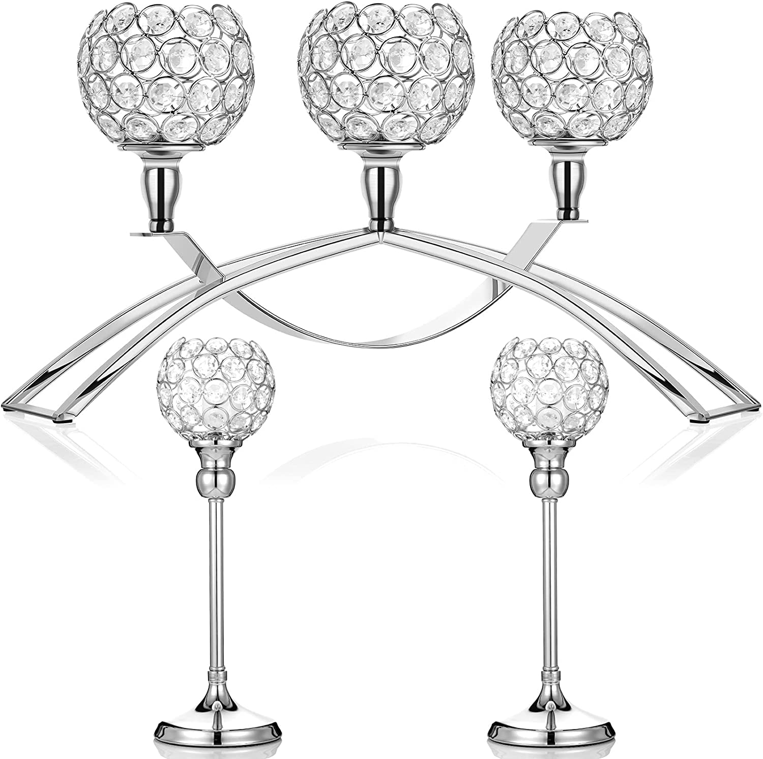 High material Inexpensive 3 Pieces Crystal Candle Arch Holders Holde Bridge