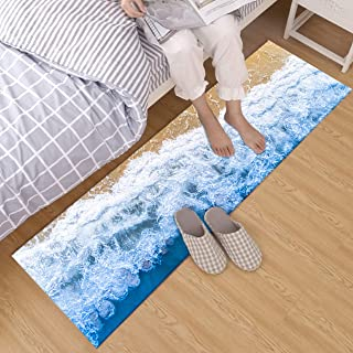 LB 3D Beach Area Rugs Home Decor Sea Wave with Sand Beach Scene Art Print Non Slip Kids Ocean Rugs Playroom Bedroom Kitchen Floor Mat Runner Area Rugs 1'4''Wx4'L