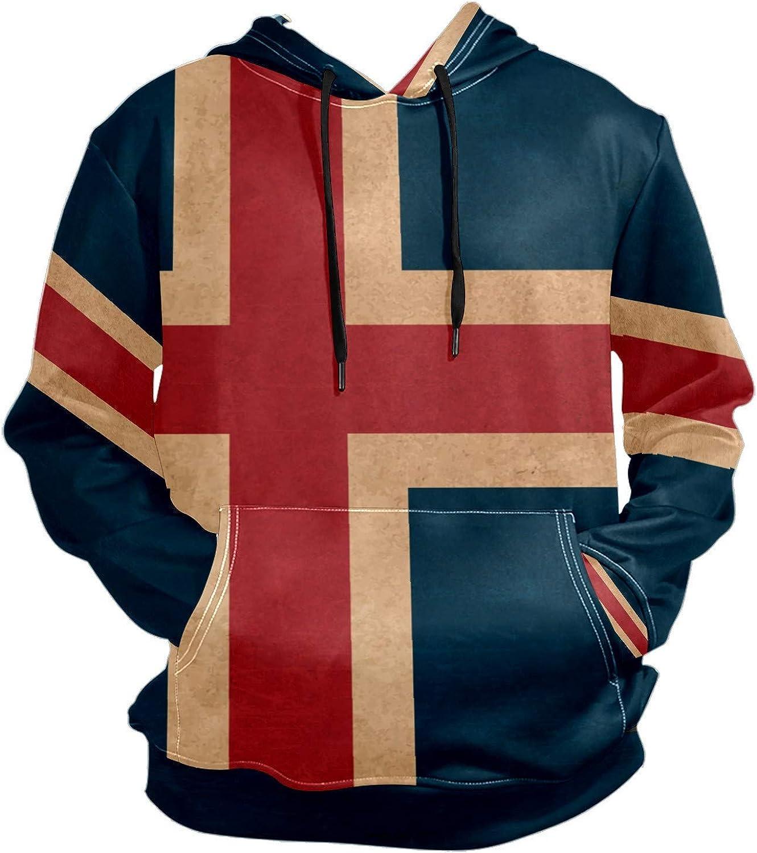 Vintage Iceland Flag Mens Sport Hoodie Big and Tall Hoodies for Men Women Oversized Hooded Sweatshirt Hip Hop Pullover Hoodie Midweight Hood for Boys Girls