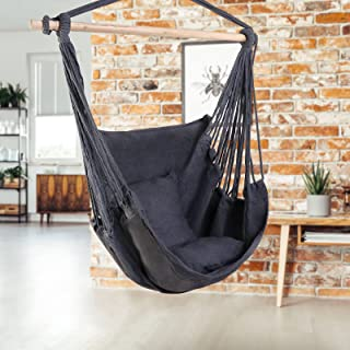 Garden Hammock Chair Hanging Rope Swing, Max 120kg Capacity, 2 Seat Cushions Included, Hanging Chair for Bedroom Living Ro...