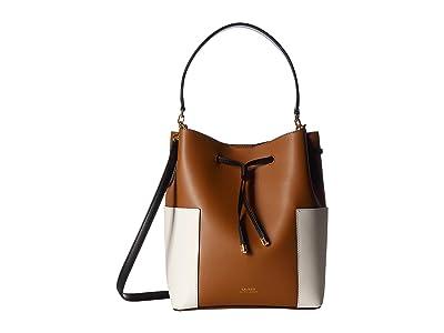 LAUREN Ralph Lauren Dryden Debby Medium Drawstring (Field Brown/Vanilla/Black) Handbags