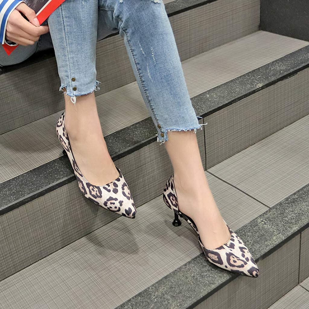 Memela Clearance sale Women Dress Pumps Kitty Heel Sandals Leopard Pointed Toe High Heels Single Shoes