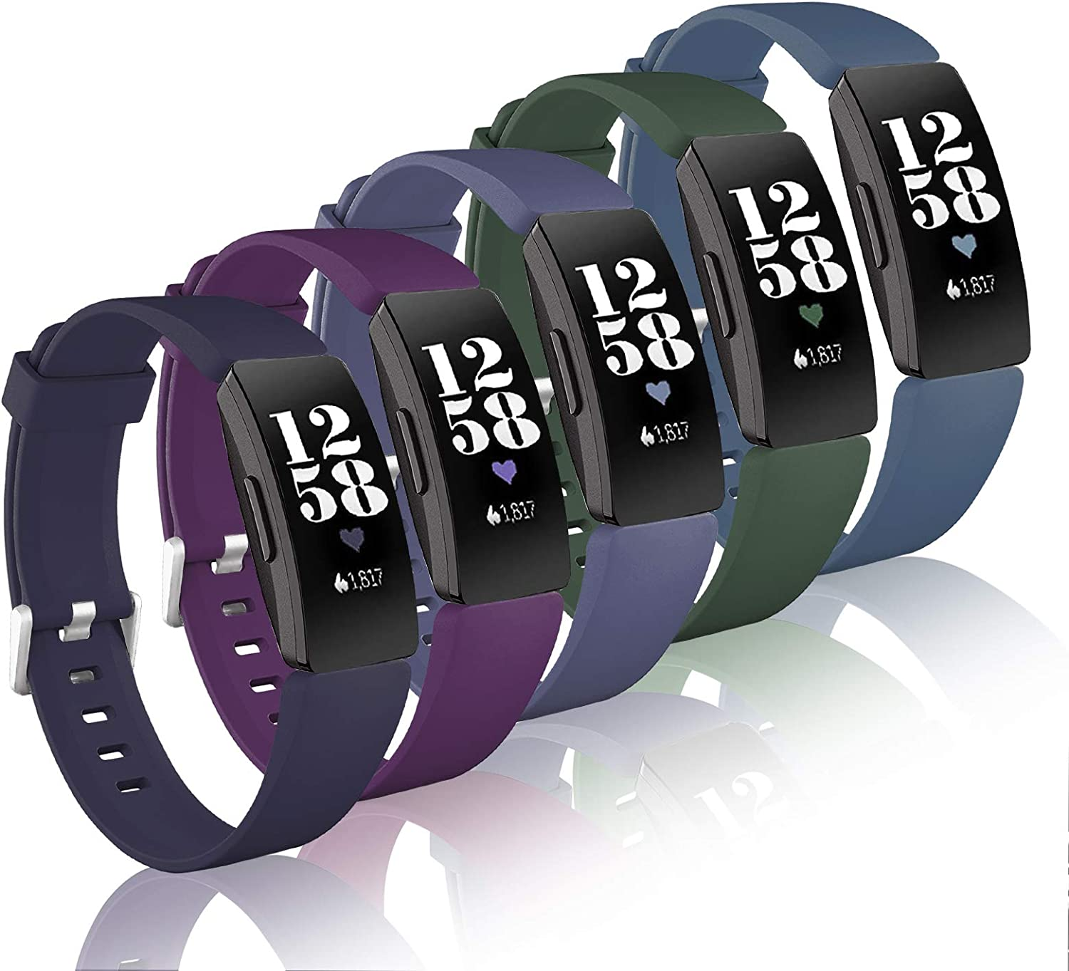 Vanet Bands Compatible with Fitbit Inspire/Inspire 2/Inspire HR/Ace 2, 5 Packs Soft Silicone Inspire HR Bands for Women Men, Small Large