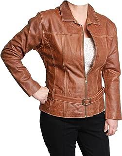 ecWorld Enterprises, Inc. Ladies Leather Zip-Front with Belt Jacket (Ecuador) M Cognac
