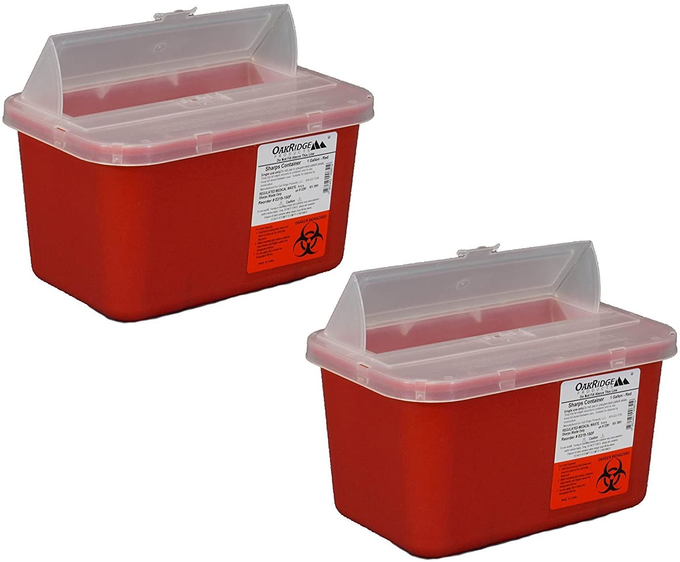 One Gallon Beauty products Sharps Containers with Pop by Lid OFFicial site Two Pack Oakri Up