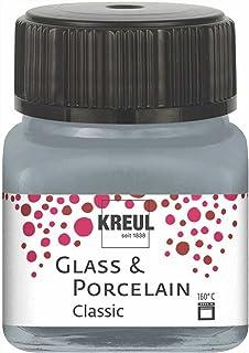 Kreul 16246 – Glass & Porcelain Classic Argent métallisé dans un verre de 20 ml, peinture brillante pour verre et porcelai...